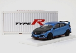 Tarmac 1/64 Honda Civic Type R FK8 Brilliant Blue/Black Bonnet